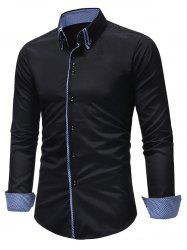 Button Down Patchwork Double Layer Collar Shirt -