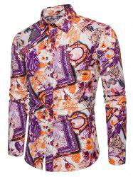 Bright Flowers Frames Print Casaul Shirt -