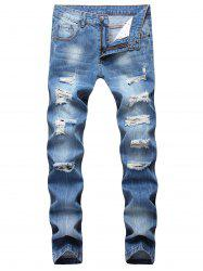 Zipper Fly Ripped Straight Jeans -
