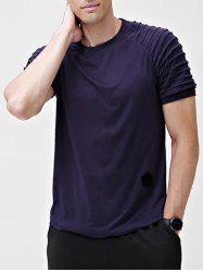 Solid Patch Detail Pleated Short Sleeve T-shirt -