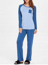 Two Tone Long Sleeves Sleepwear Set with Pocket -