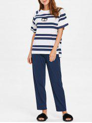 Stripe and Cat Print Short Sleeve Pajamas -