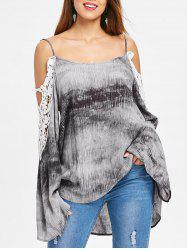 Open Shoulder Tie Dye Oversized Blouse -