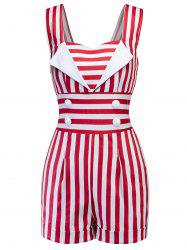 Button Embellished Striped Romper -