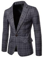 Plaid Lapel Collar One Button Blazer -