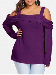 Plus Size Cold Shoulder Foldover Lace Top -