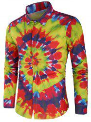 Rainbow Tie Dye Hidden Button Shirt -