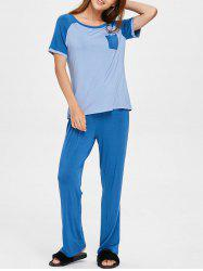 Short Sleeve Raglan T-shirt and Pants Lounge Set -