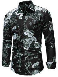 Allover Flower Print Button Up Shirt -