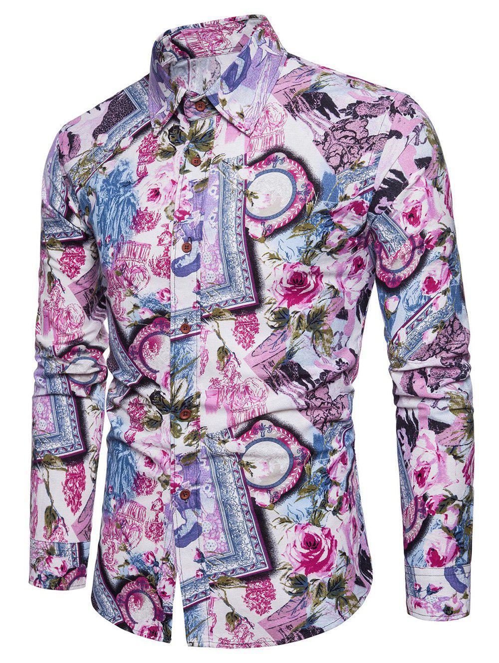 Trendy Bright Flowers Frames Print Casaul Shirt