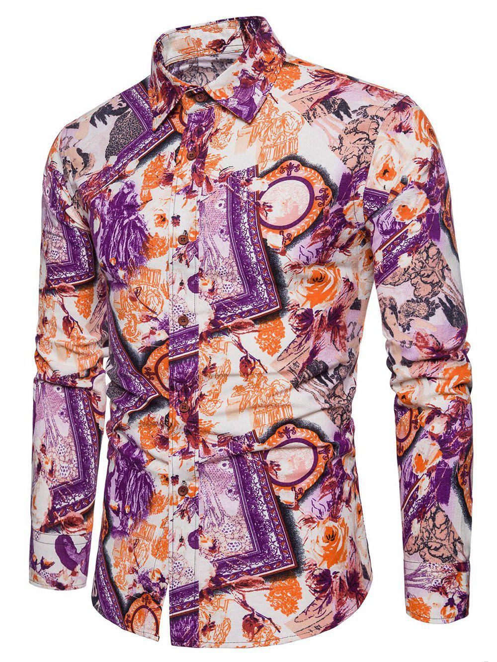 Outfit Bright Flowers Frames Print Casaul Shirt