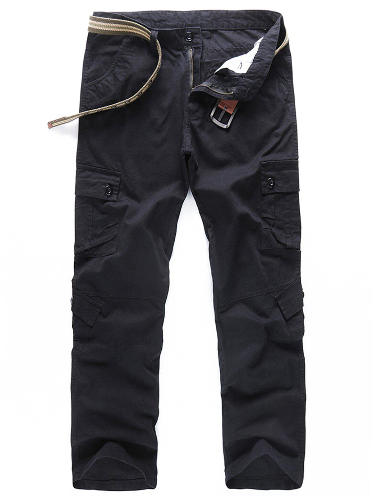 Fancy Casual Solid Color Pockets Design Cargo Pants