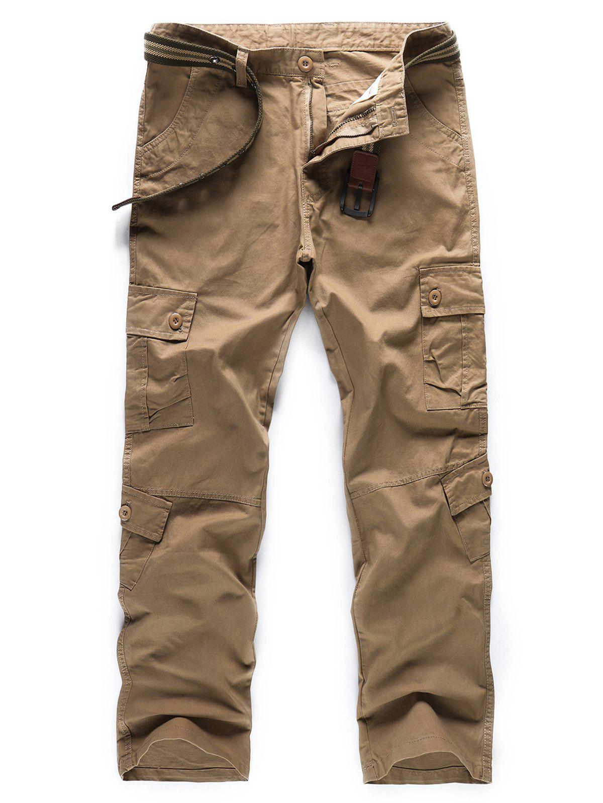 Buy Casual Solid Color Pockets Design Cargo Pants