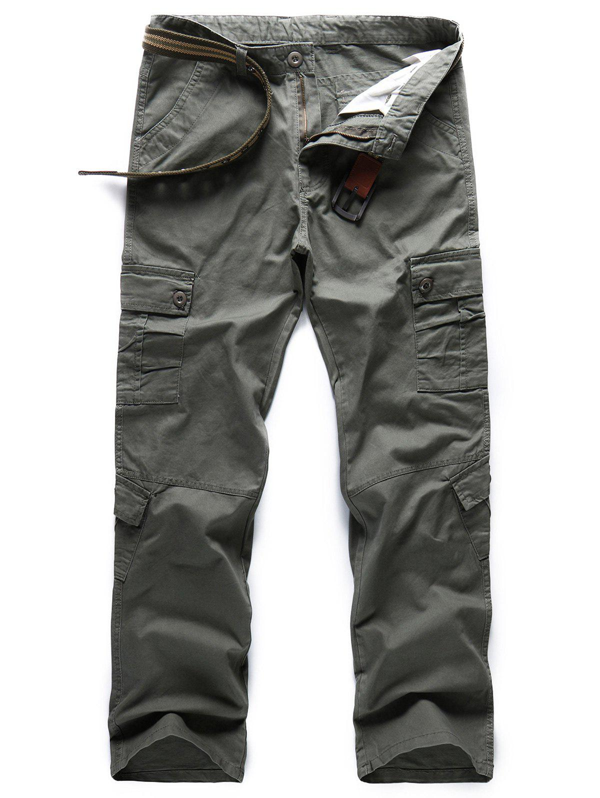 Shops Casual Solid Color Pockets Design Cargo Pants