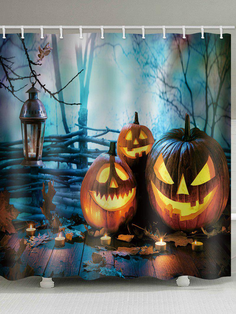 Fancy Halloween Forest Pumpkin Lanterns Printed Bath Curtain