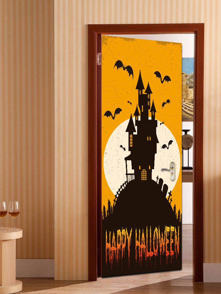 Sale Halloween Moonlight Castle Print Removable Door Stickers