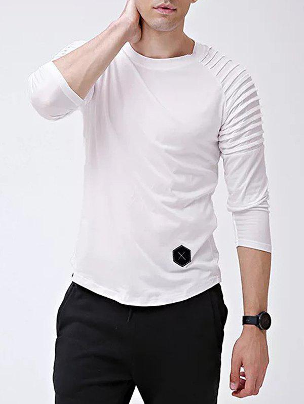 Latest Solid Color Patch Detail Pleated Long Sleeve Tee