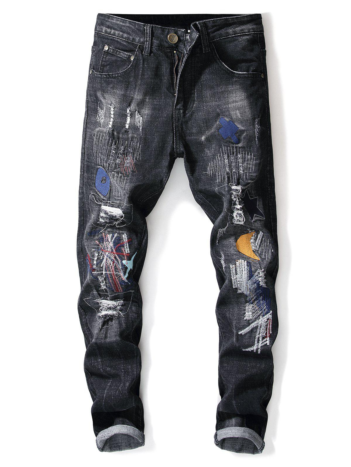 Fancy Distressed Faded Wash Star Embroidery Jeans