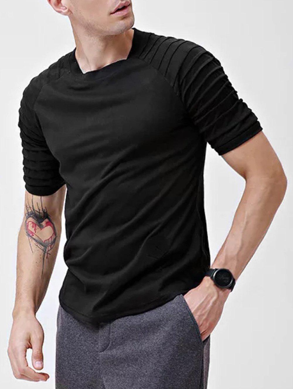 Affordable Solid Patch Detail Pleated Short Sleeve T-shirt