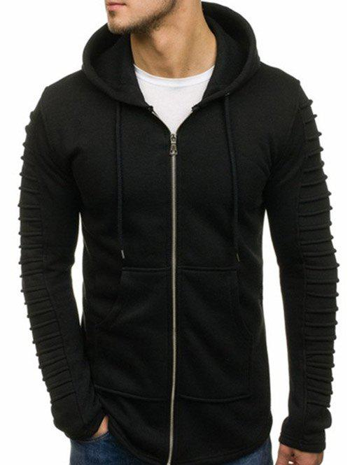 Unique Solid Color Sleeve Pleated Pocket Full Zipper Fleece Hoodie