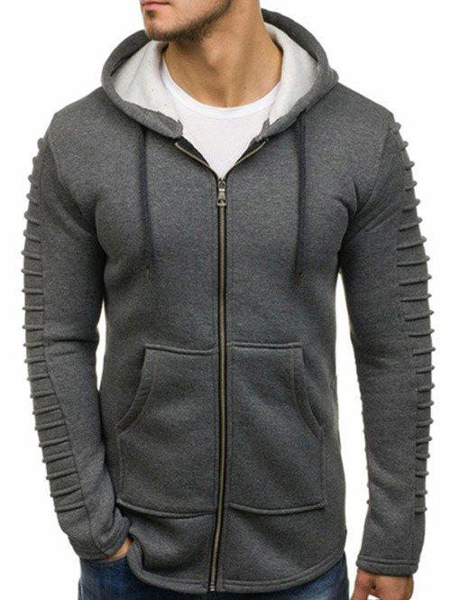 Outfit Solid Color Sleeve Pleated Pocket Full Zipper Fleece Hoodie