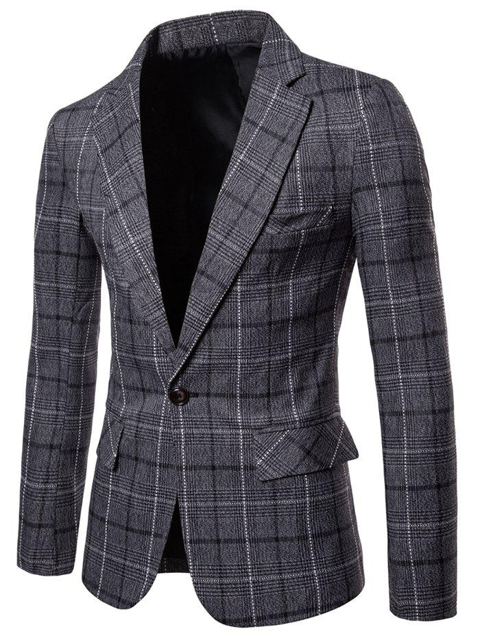 Hot Plaid Lapel Collar One Button Blazer