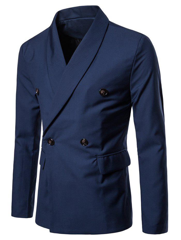 Fancy Shawl Collar Solid Color Blazer