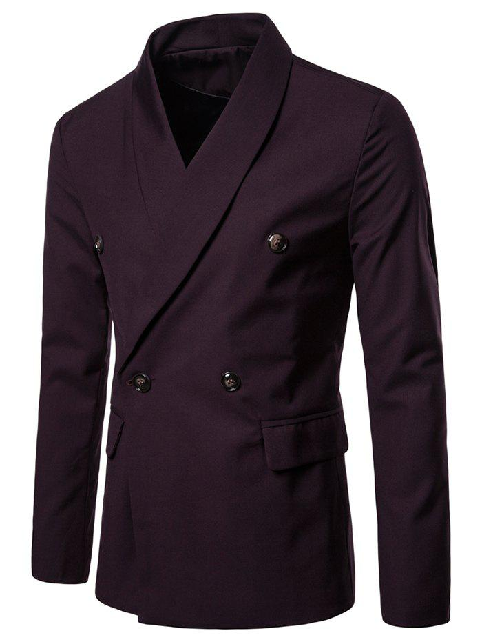 Cheap Shawl Collar Solid Color Blazer