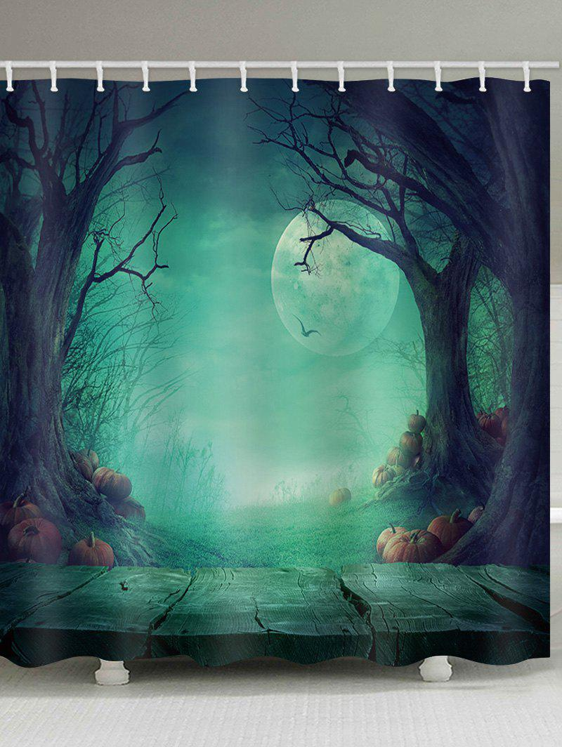 Buy Magic Forest Halloween Night Print Waterproof Bath Curtain