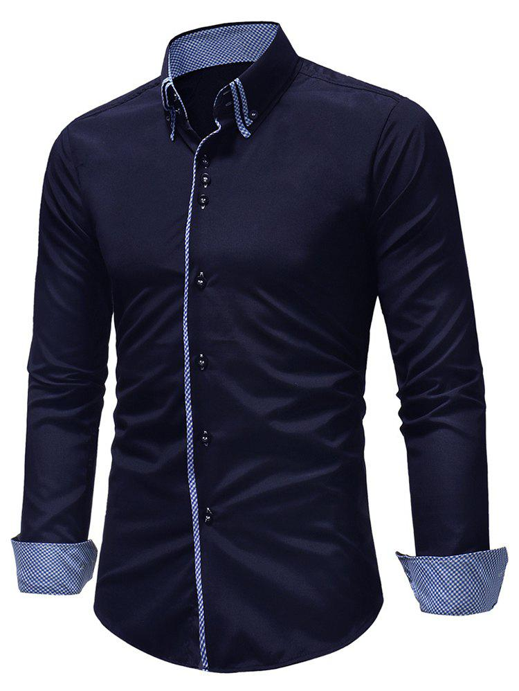 Image of Button Down Patchwork Double Layer Collar Shirt
