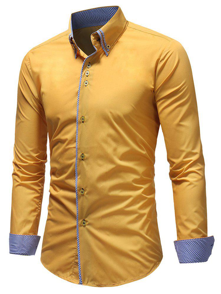 Latest Button Down Patchwork Double Layer Collar Shirt