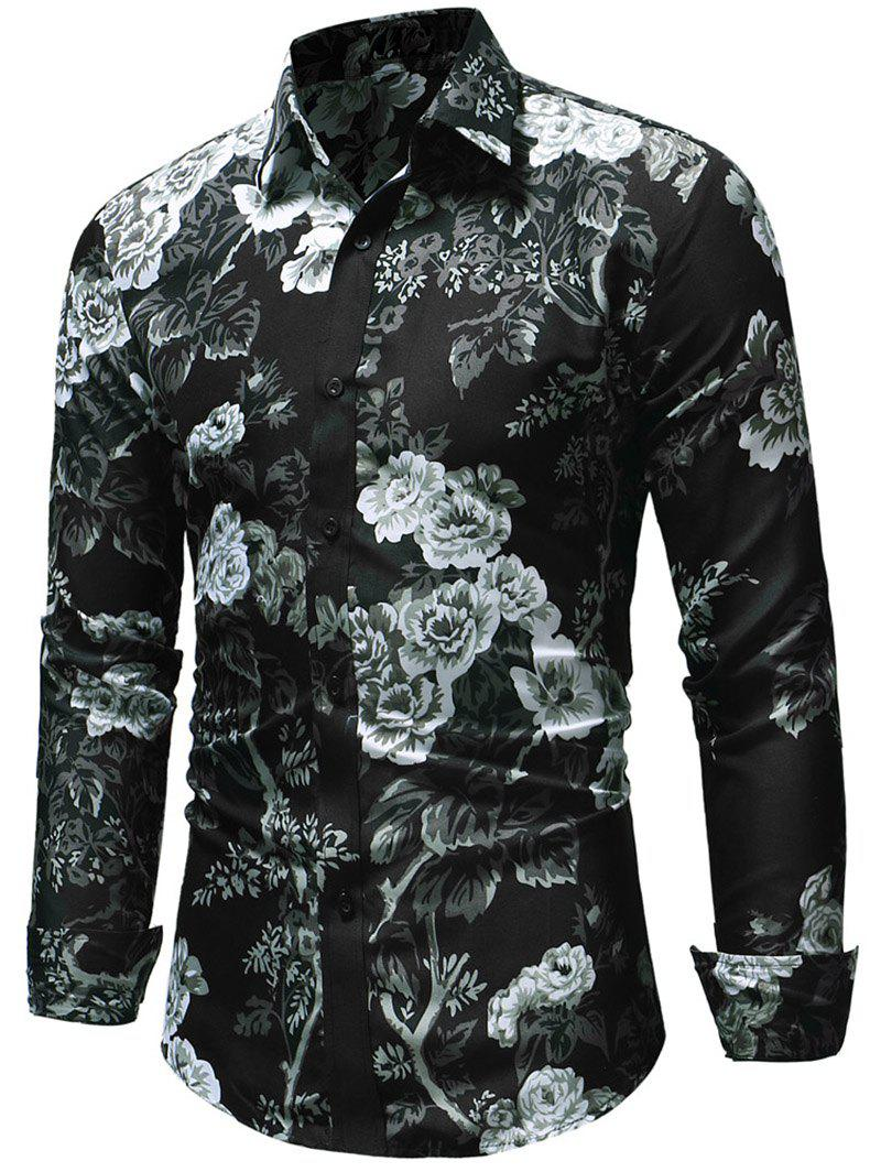 Fancy Allover Flower Print Button Up Shirt