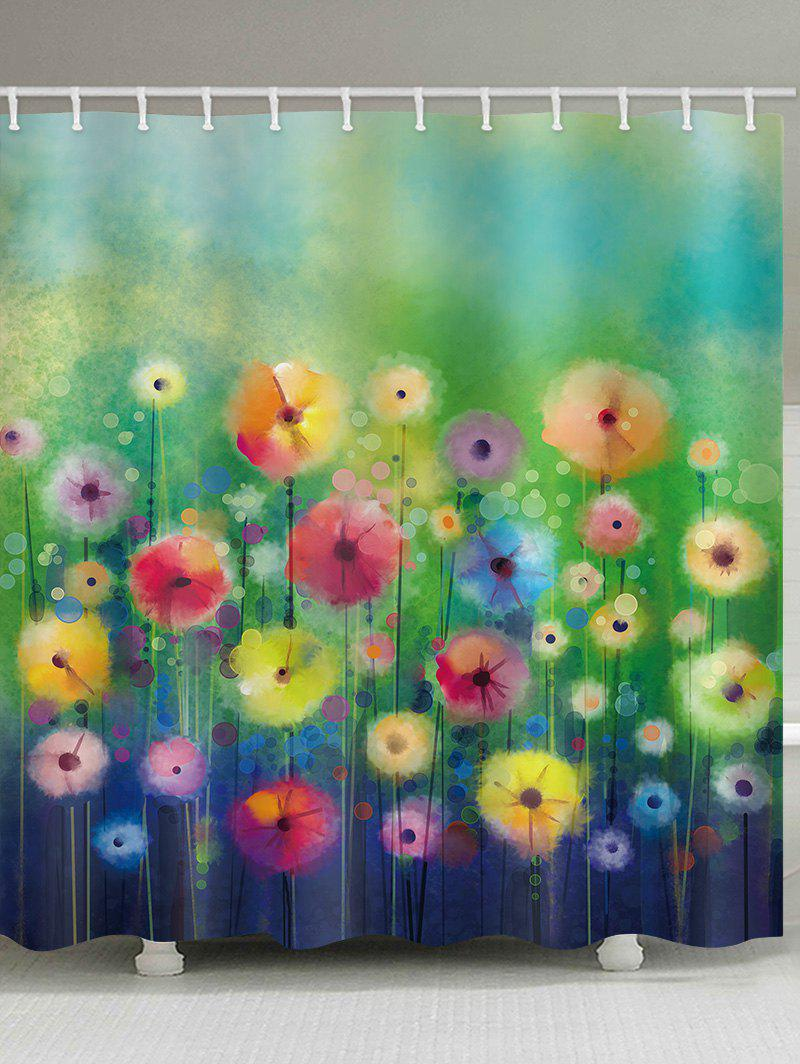 Store Watercolor Flowers Print Shower Curtain