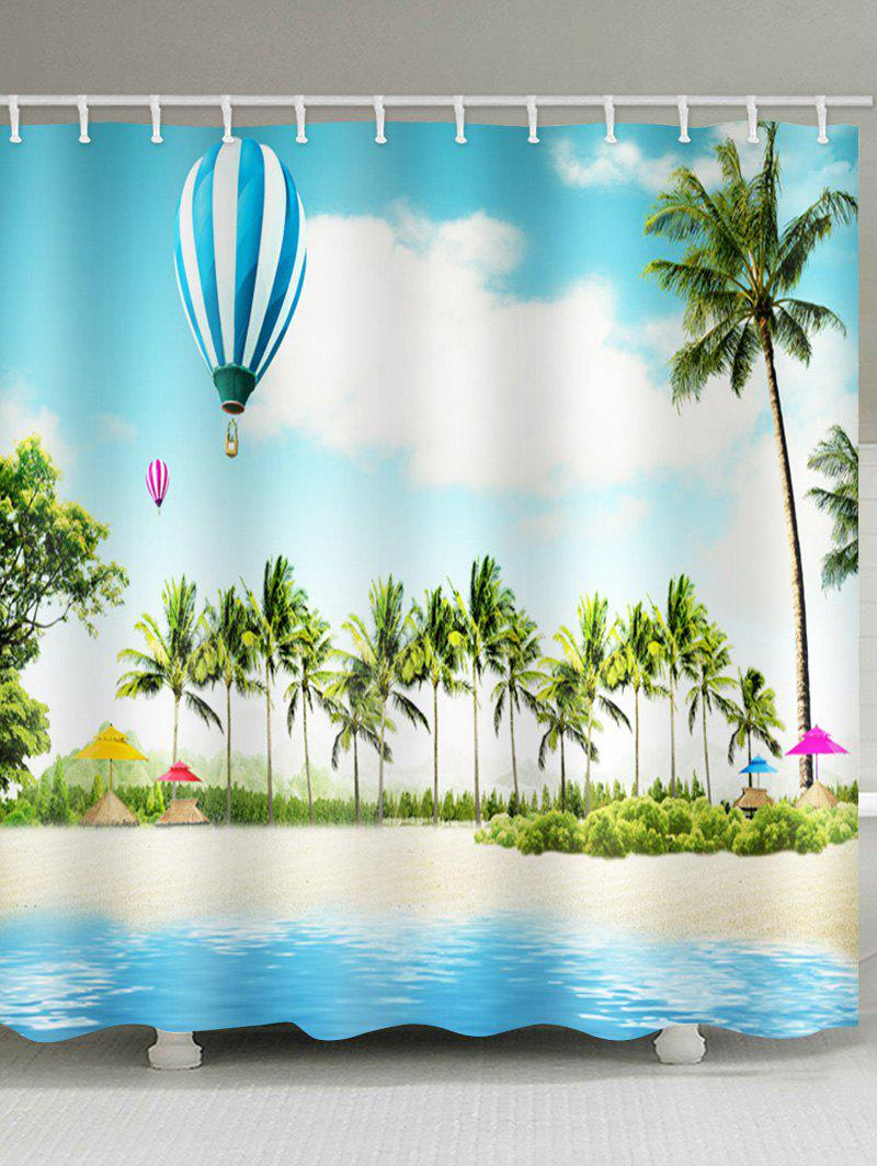 Affordable Coconut Palms Balloon Beach Scenery Printed Bath Curtain