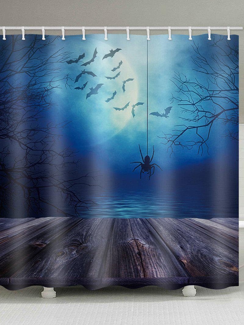 New Halloween Lake Moon Night Spider Print Bath Curtain