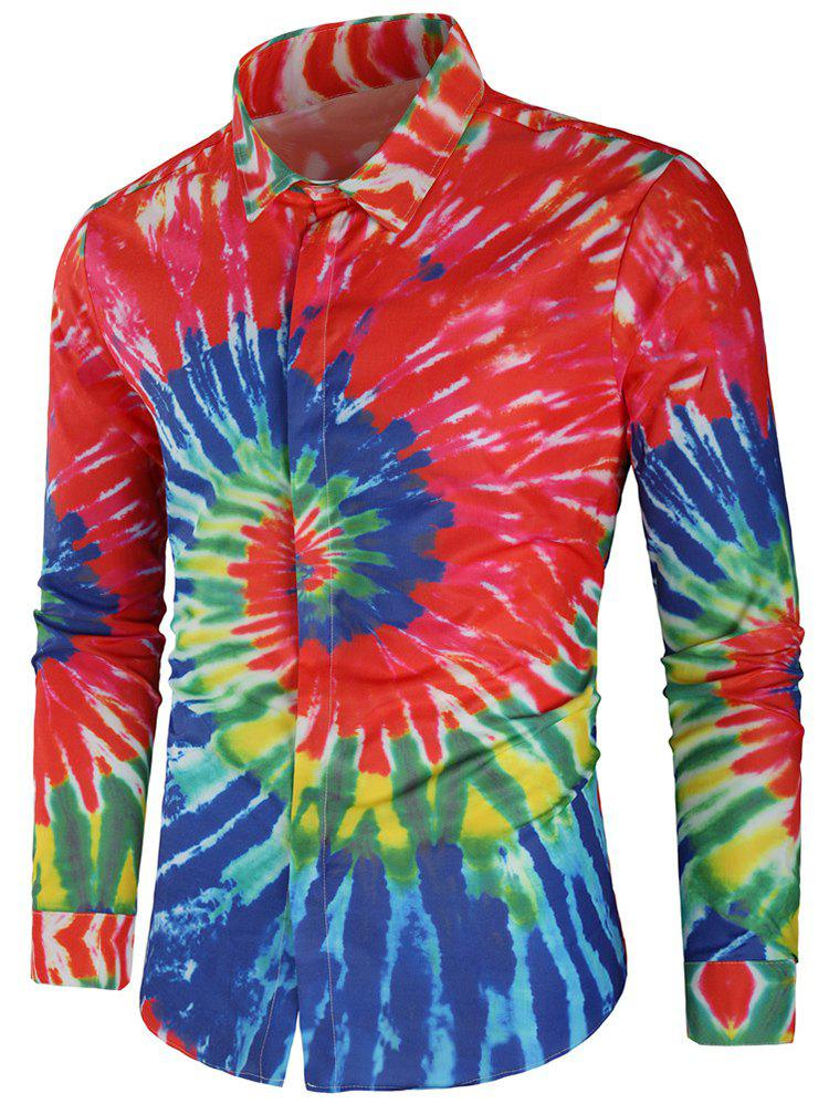Cheap Long Sleeve Colorful Tie Dye Shirt