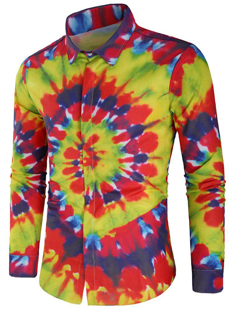 Latest Rainbow Tie Dye Hidden Button Shirt