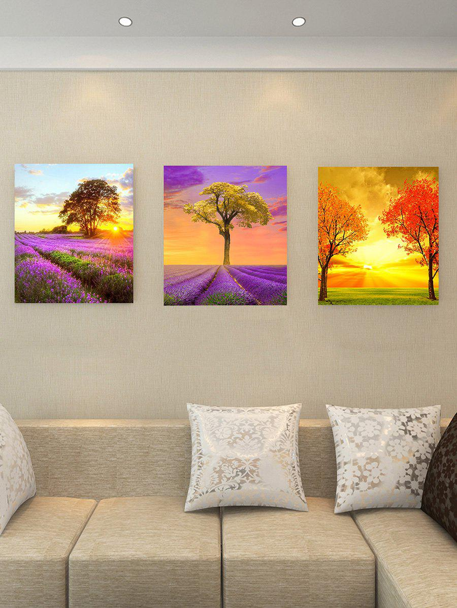 Unique Lavender Field Tree Print Unframed Canvas Wall Art