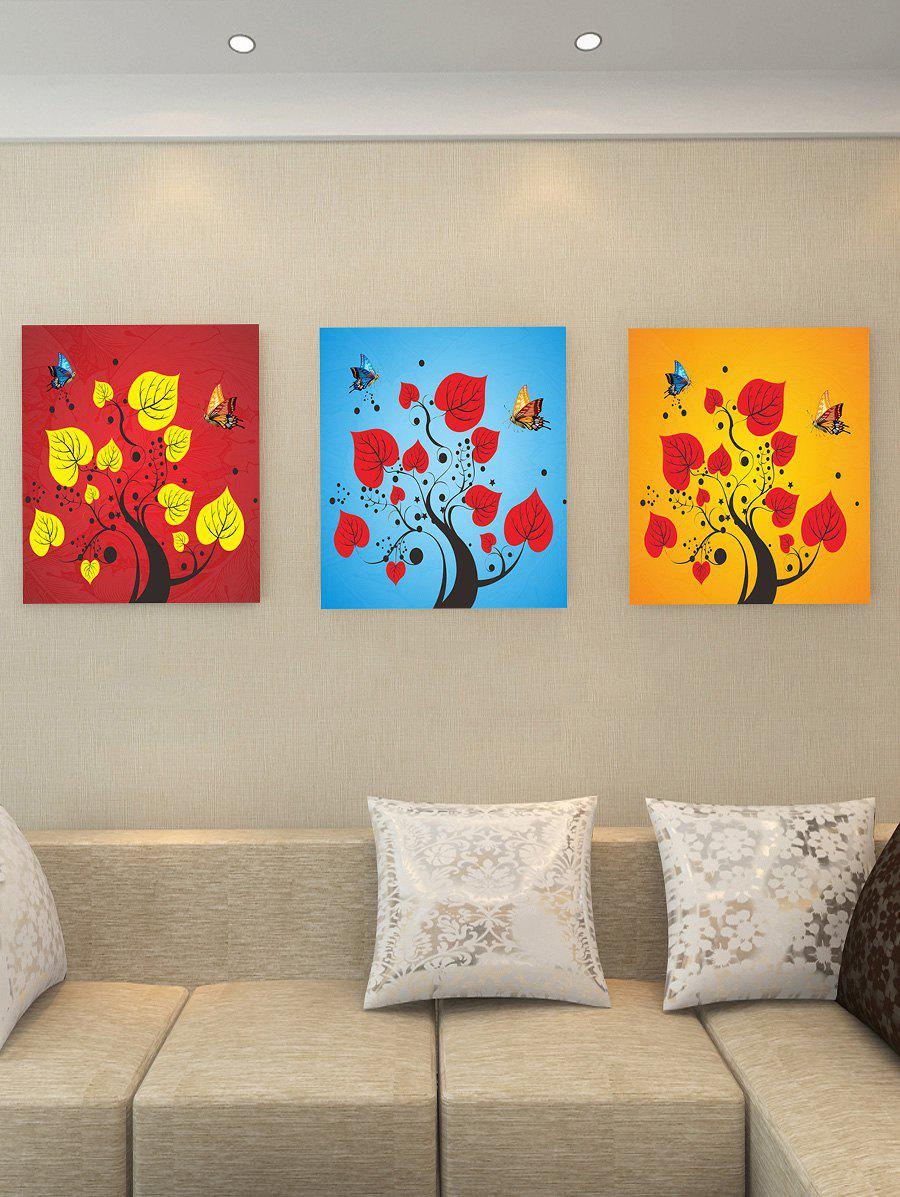 Cheap Tree Branch Leaf Butterfly Print Split Canvas Paintings