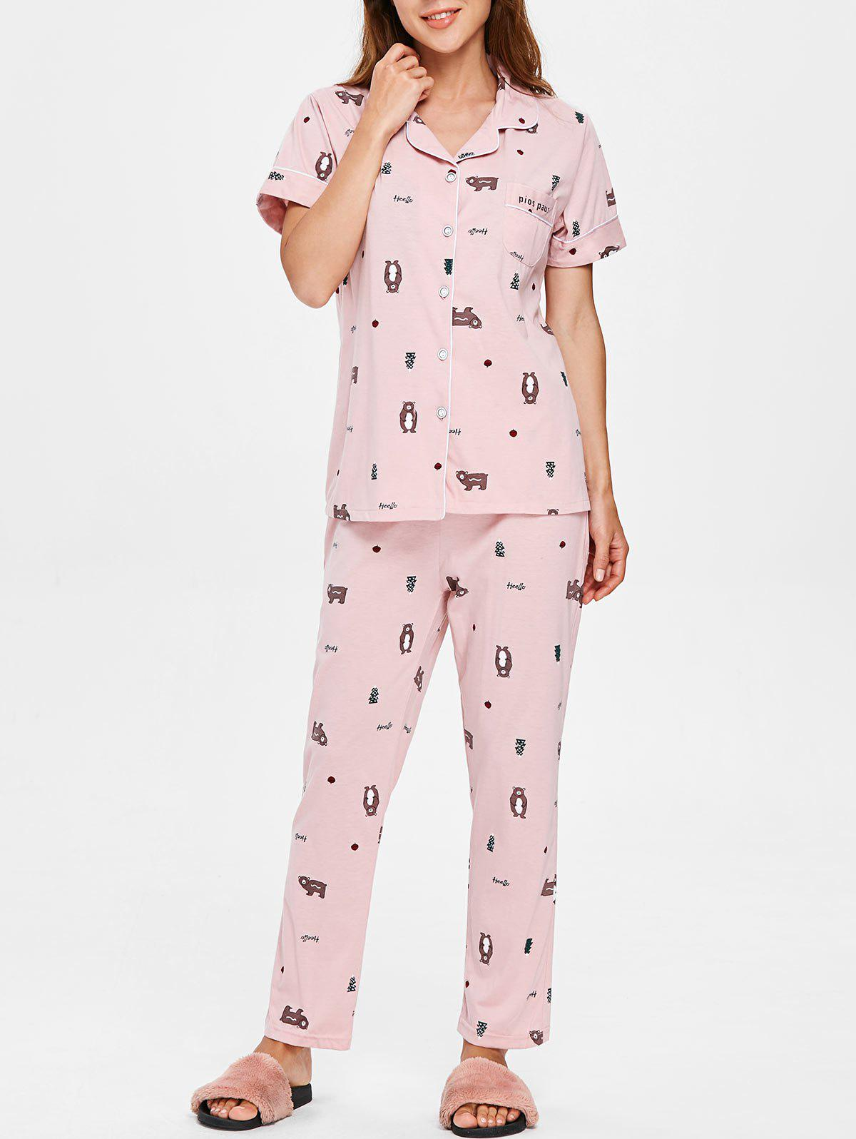 Latest Bear Print Short Sleeves Sleepwear Set