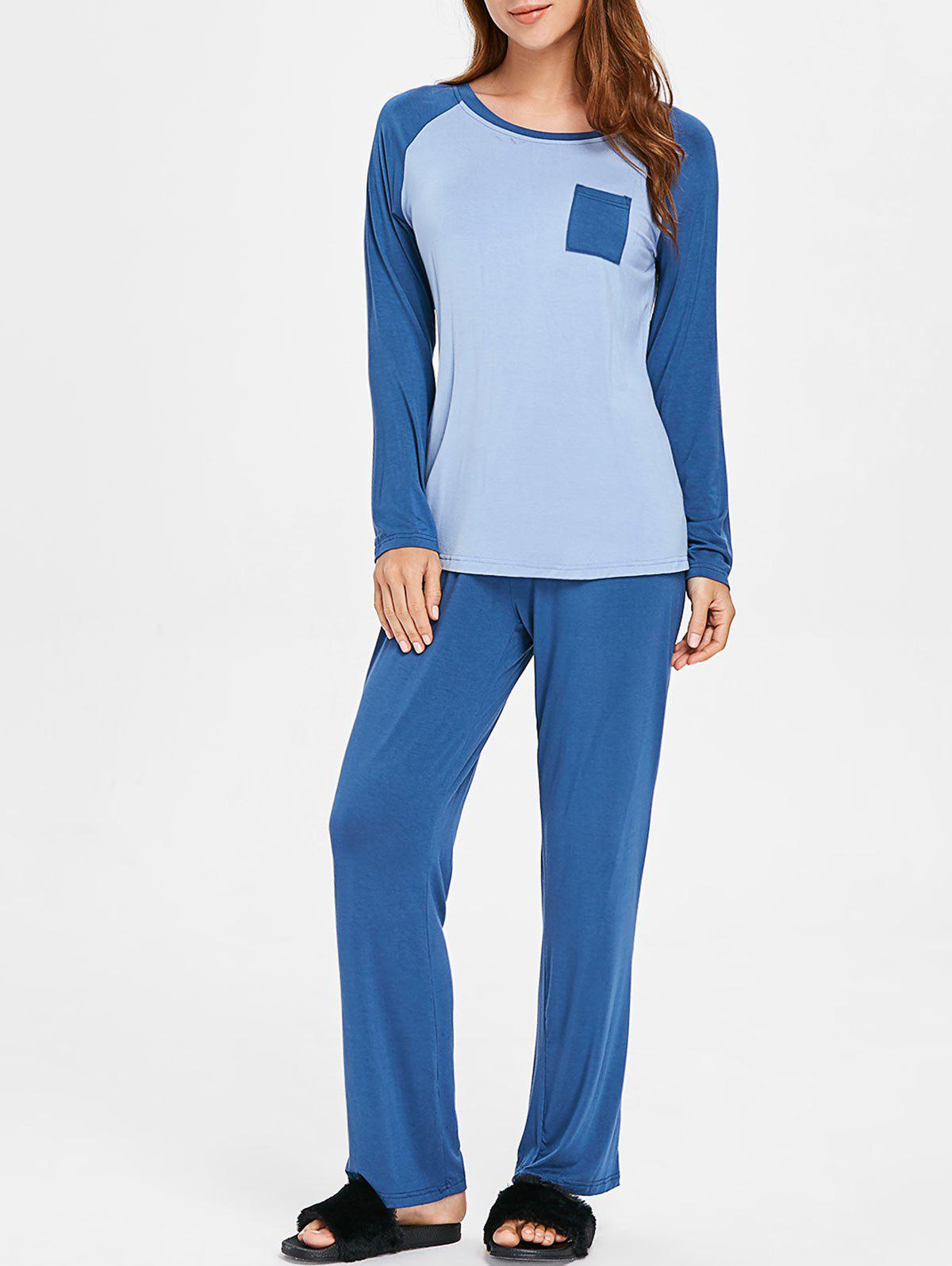 Chic Two Tone Long Sleeves Sleepwear Set with Pocket