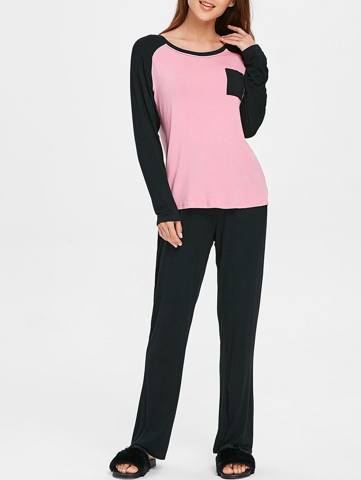 Outfits Two Tone Long Sleeves Sleepwear Set with Pocket