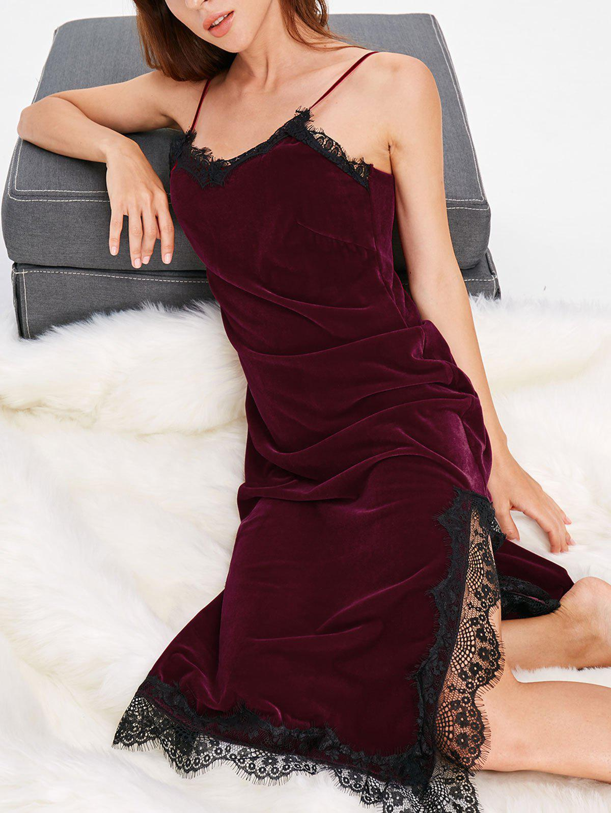 Affordable Lace Insert Velvet Slip Nightgown Dress