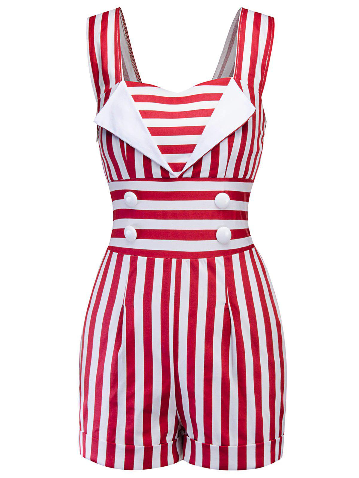 Latest Button Embellished Striped Romper