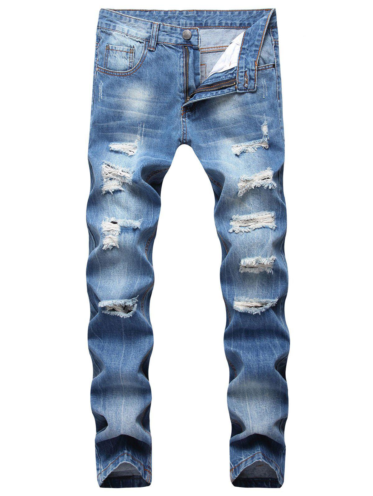 Discount Zipper Fly Ripped Straight Jeans