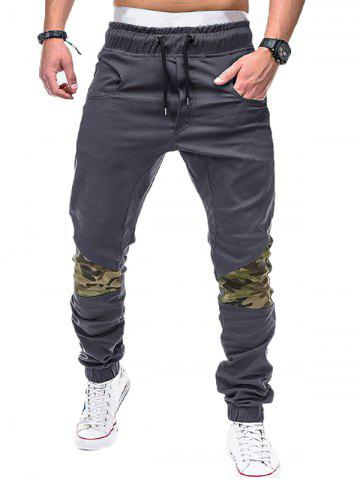 Drawstring Elastic Waistband Camouflage Patchwork Jogger Pants