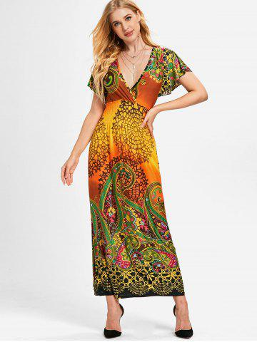 Plunging Neckline Ethnic Print Long Dress