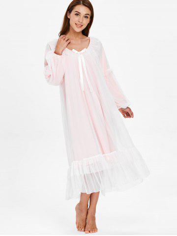Long Sleeve Lace Bowknot Nightgown Dress
