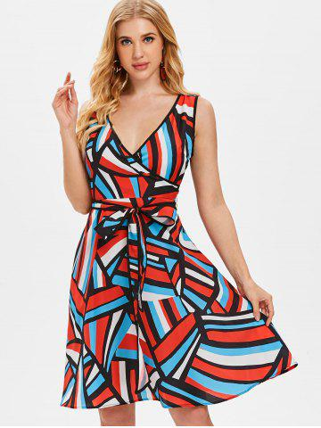 Abstract Geometry Print Sleeveless Flare Dress