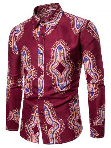 All Over Ethnic Geometric Print Long Sleeve Shirt